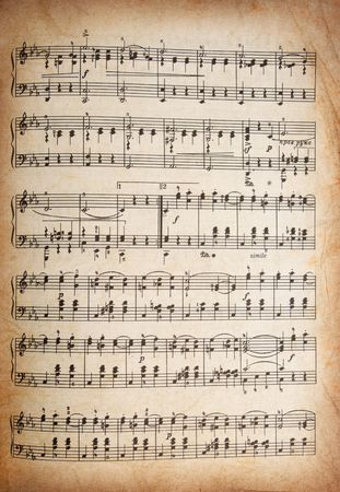 old vintage musical page with notes