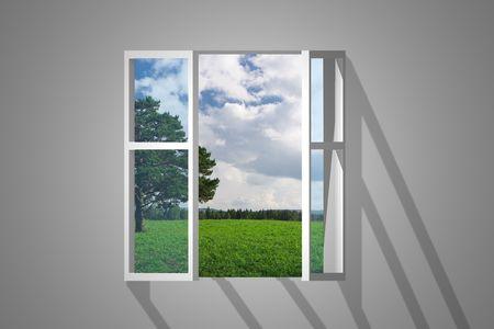 opening window: ventana que se abre vista sobre el paisaje