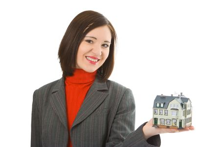 young woman hold house on hand over white background Stock Photo - 2335662