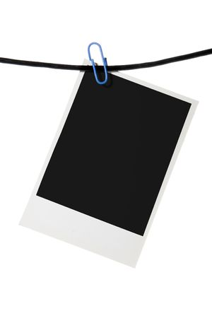 proceeding: blank clip rope over white background Stock Photo
