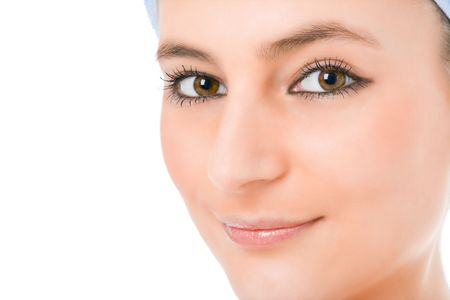 beauty woman face over white background photo