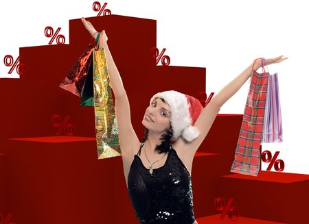 shopping woman and graph percent on white photo