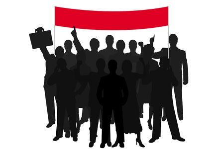 show bill: grupo de personas silueta roja con la demostraci�n de ley sobre fondo blanco