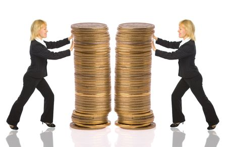 two businesswomen push rouleau money on white Stock Photo - 2336180