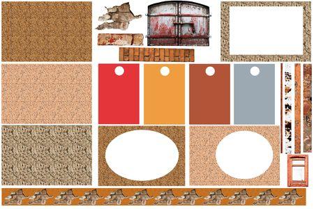 assemblage: grunge vintage scrapbook design elements Stock Photo