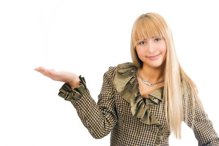 business woman with hand palm up Stock Photo - 2495709