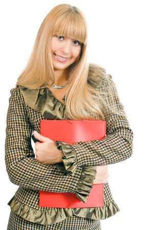 business woman with red folder Stock Photo - 2495733