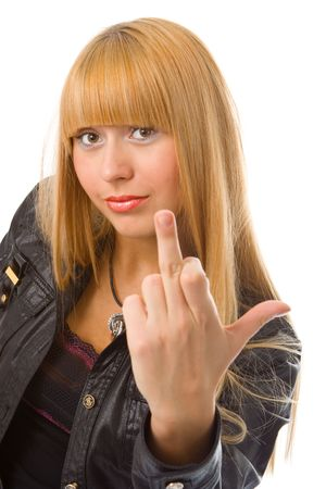 woman show finger up over white photo