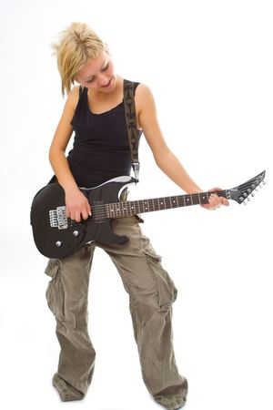 woman with guitar on white background photo