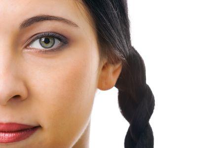 woman half face with plait Stock Photo - 2495629