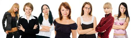 people woman group on white background photo