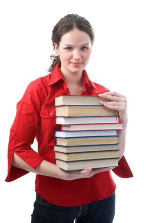 student girl with books on white background photo