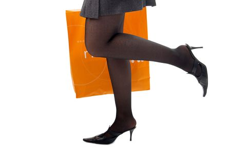 woman legs with packet run shopping on white Stock Photo - 2711518