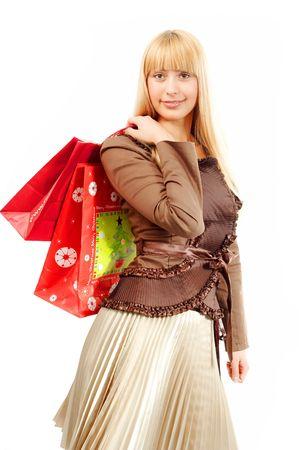 baclground: shopping woman on white baclground