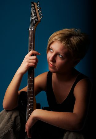 musician woman with guitar photo