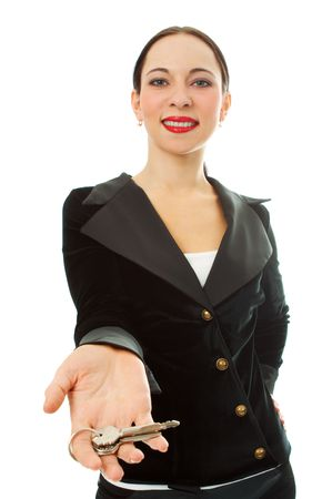 trade secret: business woman with keys on white background Stock Photo