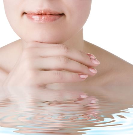 attractiveness: close-ups beauty woman face with ripples in the water