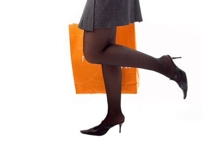 woman legs run shopping with paper bag on white Stock Photo - 3289038