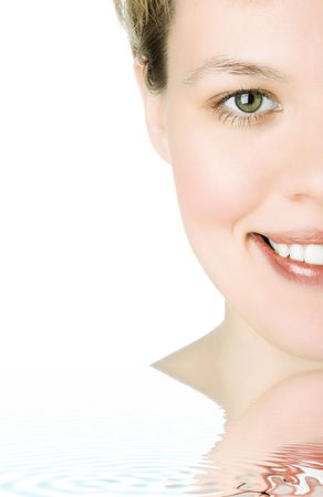 bodyscape: close-ups Half face girl looks in staff and widely smiles a white teeth over white background