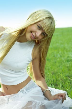 herbage: happy beauty young woman jump in field with green grass