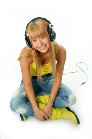 woman in headphones on white background photo