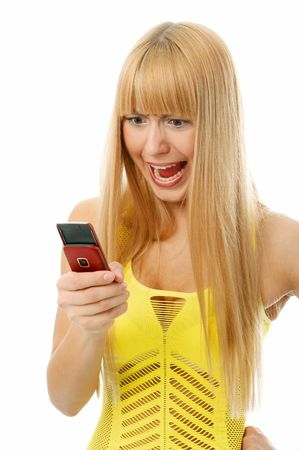 woman talking in cellphones on white background Stock Photo - 3288404