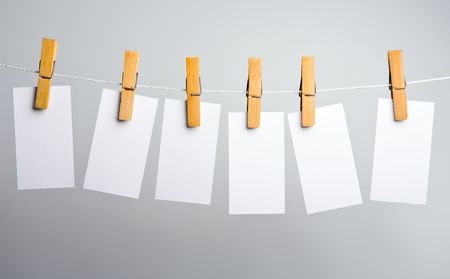 attach: white paper blanks on rope attach clothes-peg