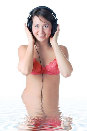 pretty girl in head phones over white photo