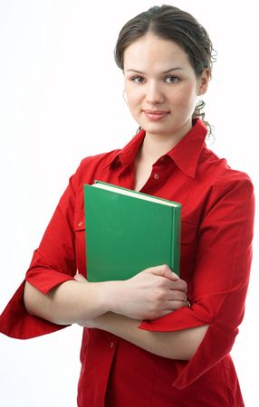 beauty student with book on white background photo