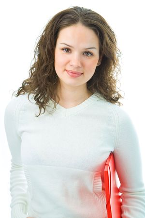 woman with folder for document on white background photo