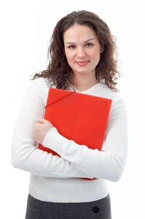 woman with red folder for documents on white background Stock Photo - 3847294