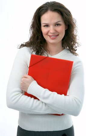 beauty woman with folder for documents photo