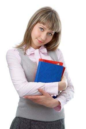 woman with folder for documents on white background photo