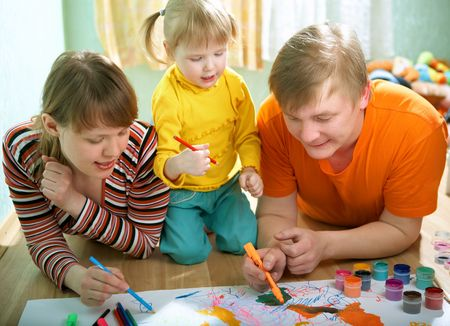 family mother father and baby draw Stock Photo - 3846305