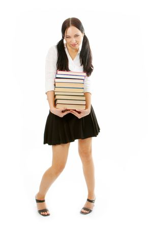 student woman with books on white background photo