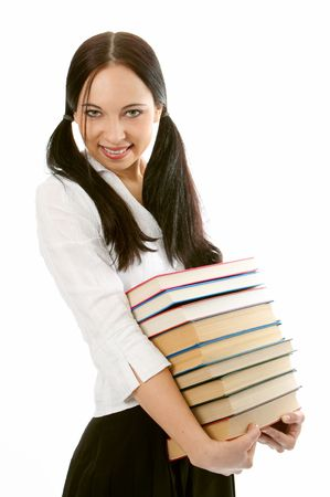 woman with pile books on white background photo