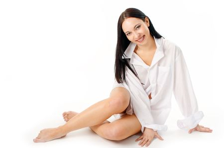 woman in  shirt on white background photo