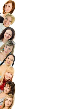 young women isolated om white background photo