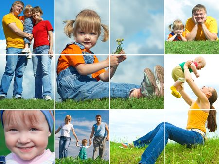 collage people: happy family outdoors assembling frame Stock Photo