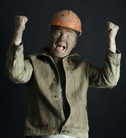 close-up portraitm worker man mine Stock Photo - 3858954