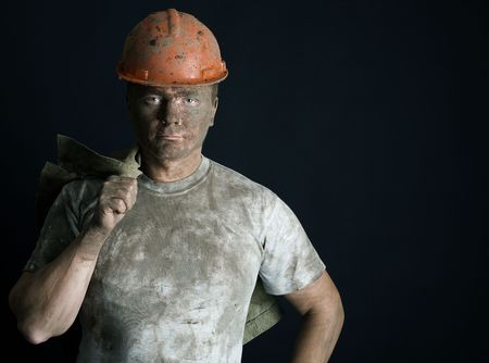 close-up portraitm worker man mine Stock Photo - 3858926