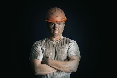 close-up portraitm worker man mine Stock Photo - 3858923
