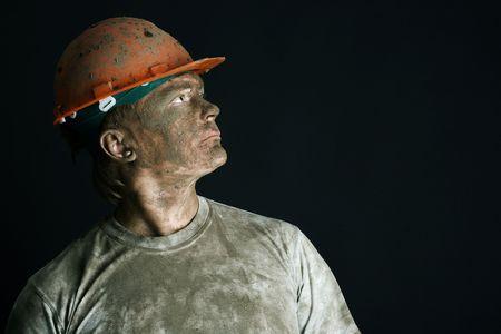 close-up portraitm worker man mine Stock Photo - 3858955