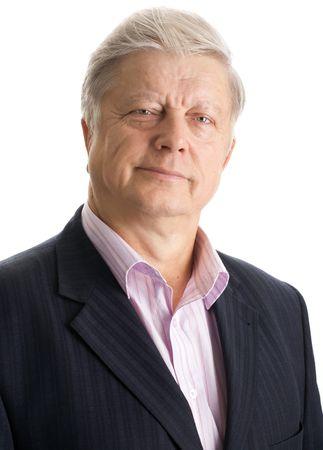 portrait  mature businessman on white background photo