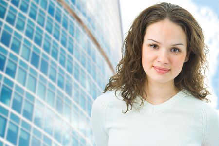 business woman on modern buildings background photo