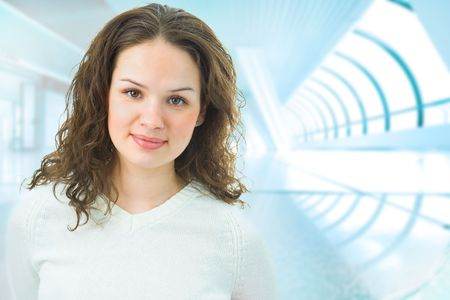 business woman in interior in blue Stock Photo - 3858925