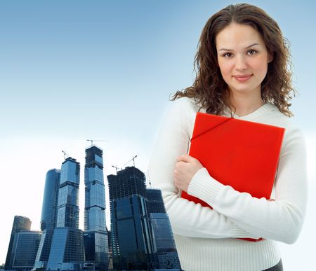 business woman and modern glass buildings project photo