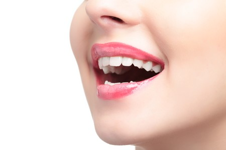Laughing woman mouth on white background Stock Photo - 4248566