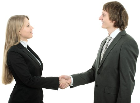 man and woman business team shaking hands on white background Stock Photo - 4249040
