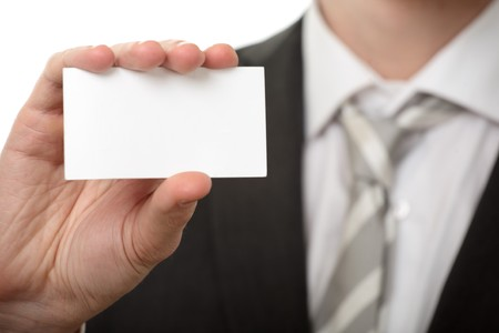 businessman hold visiting card on white Stock Photo - 4248579